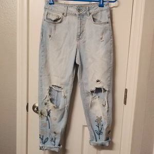 Zara distressed floral stitch boyfriend jeans